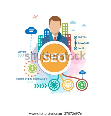 SEO (search engine optimization) concepts for web banner and printed materials. - stock vector