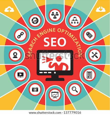SEO (Search Engine Optimization) - infographics business concept. Internet web site promotion concept vector layout. - stock vector