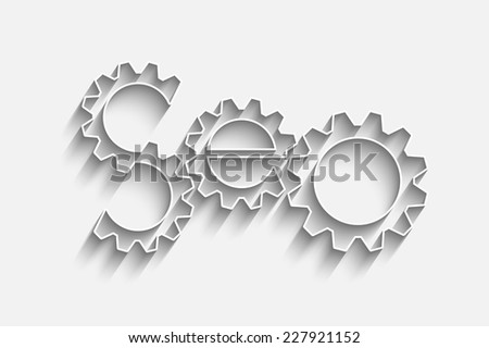SEO - Search Engine Optimization symbol with gears - stock vector