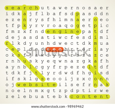 SEO - Search Engine Optimization vector background illustration as word search puzzle with highlighted keywords