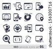 SEO services icons set 01 MONO - stock vector