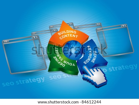Seo strategy - communication concept with globe, application window and hand - stock vector