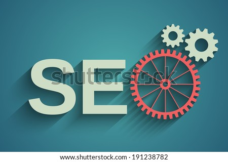 Seo tag with gear wheel - stock vector