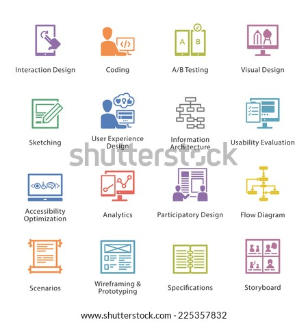 SEO & Usability Icons Set 2 - Colore? Series - stock vector