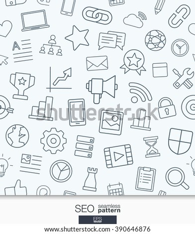 SEO wallpaper. Black and white marketing seamless pattern. Tiling textures with thin line web icons set. Vector illustration. Abstract background for mobile app, website, presentation.