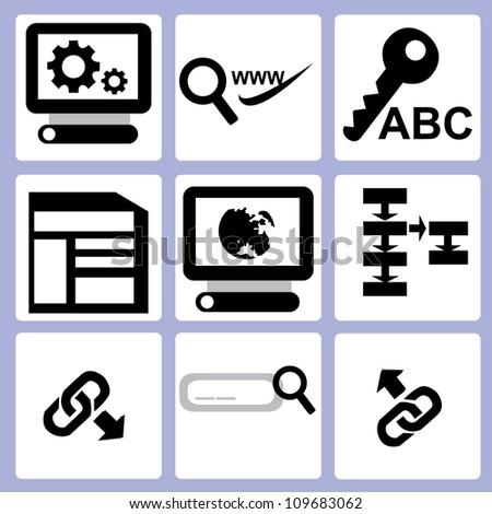SEO, web icon set - stock vector