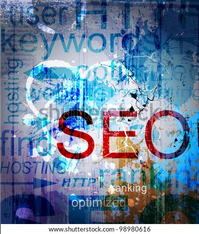 SEO. Word Grunge collage on background - stock vector
