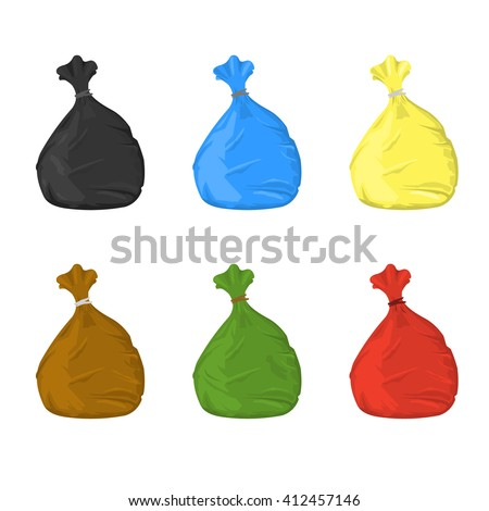 Separate garbage bags for waste disposal. Vector illustration of plastic garbage sacks. Trash bags for garbage separation. - stock vector