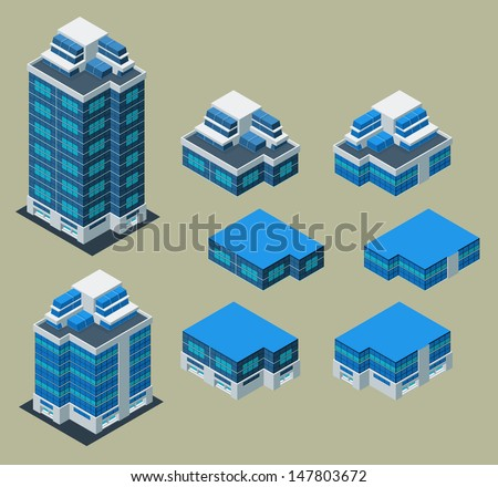 separated isometric building/apartment, its height is easily customize - stock vector
