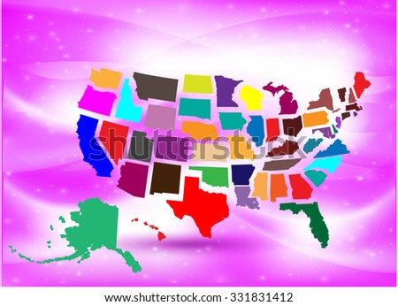 Separated State Maps & Background  - Vector Illustration