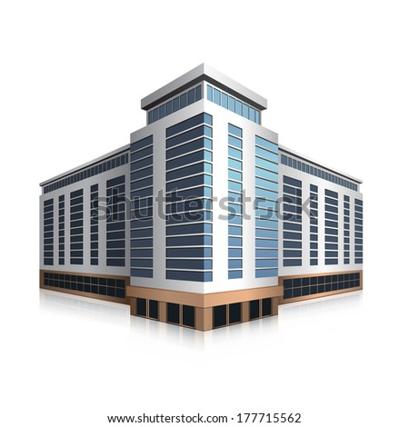 separately standing office building, business center in perspective - stock vector