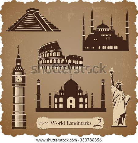Sepia set of vector icons of the most famous places in the world - stock vector