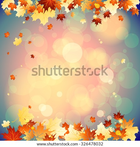 September background with falling autumn leaves. Place for text - stock vector