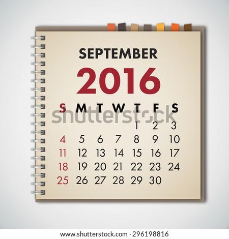 September 2016 Calendar Notebook Vector  - stock vector