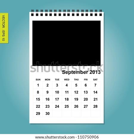 September 2013 calendar vector - stock vector