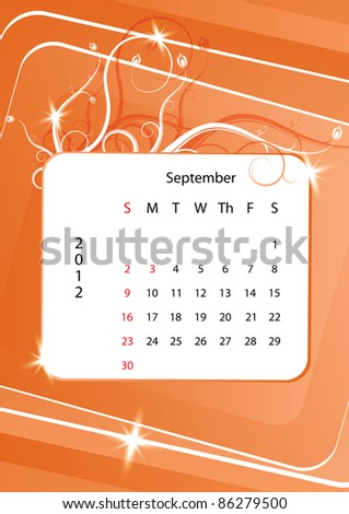 September calendar 2012, week starts with sunday, eps10 vector illustration - stock vector