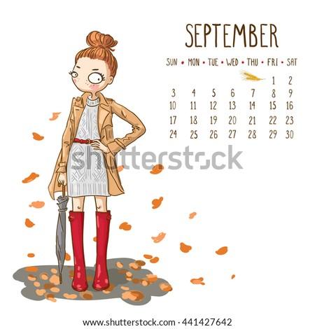 september 2017 calendar cute girl umbrella stock vector royalty