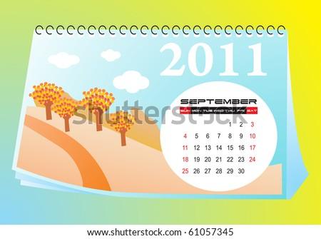 September desk calendar - stock vector