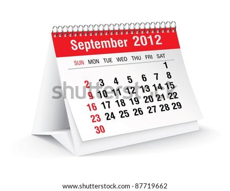 september 2012 desk calendar - stock vector