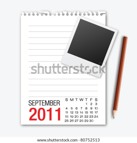 September month calendar note paper with pencil - stock vector