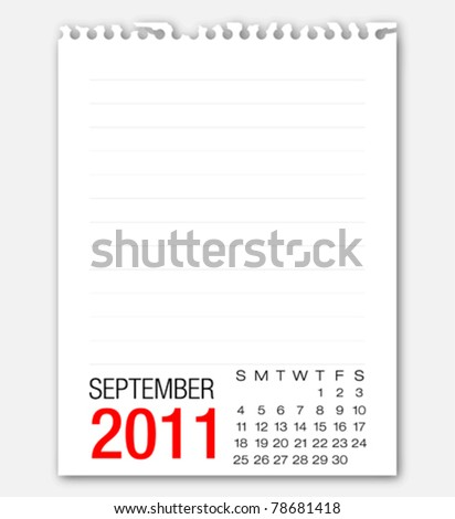 September month calendar 2011 on note paper