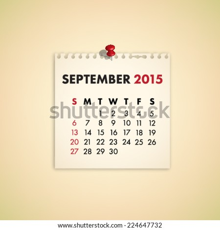 September 2015 Note Paper Calendar Vector - stock vector