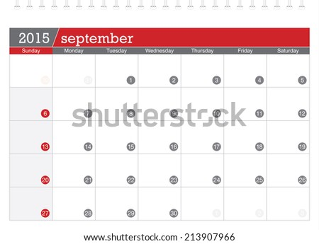 September 2015 planning calendar - stock vector