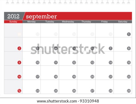 september 2012-planning calendar - stock vector
