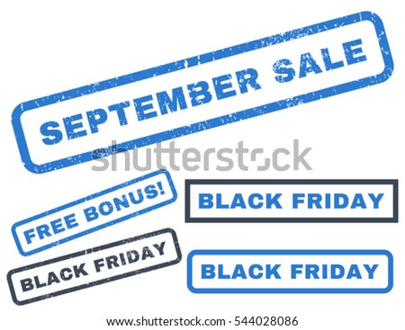 September Sale rubber seal stamp watermark with additional images for Black Friday offers. Vector smooth blue emblems. Text inside rectangular banner with grunge design and unclean texture.