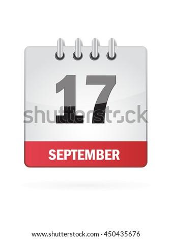 September Seventeen. Calendar Icon - stock vector