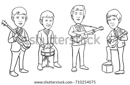 september 6 2017 vector illustration of the beatles band members on white background world - Beatles Coloring Book