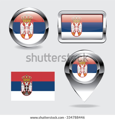 Serbia flag icons chrome set, generated 3D photo rendering. - stock vector