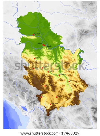 Serbia (incl. Kosovo). Physical vector map, colored according to elevation, with selected cities. Surrounding territory greyed out. 45 layers, fully editable. Data source: NASA - stock vector