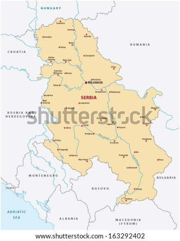 serbia map - stock vector