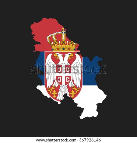 Serbia - map and flag