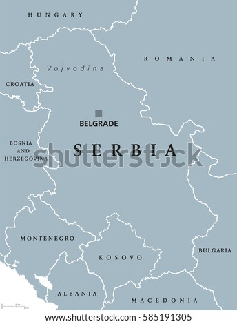 Serbia political map capital belgrade neighbor stock vector 2018 serbia political map with capital belgrade and neighbor countries republic in southeastern europe located on gumiabroncs