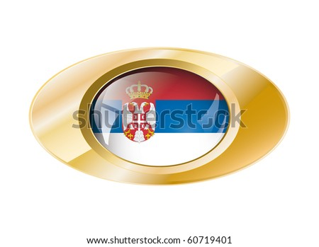 Serbia shiny button flag vector illustration. Isolated abstract object on metal background.