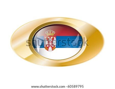 Serbia shiny button flag with golden ring vector illustration. Isolated abstract object against white background.