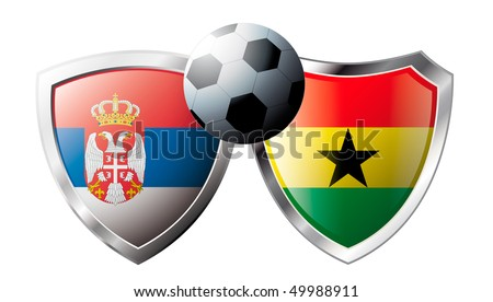 Serbia versus Ghana abstract vector illustration isolated on white background.  Shiny football shield of flag Serbia versus Ghana