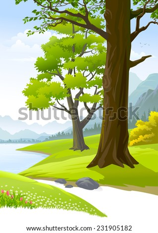 Serene peaceful trees next to a calm lake  - stock vector