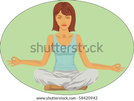 Serene woman in meditation position