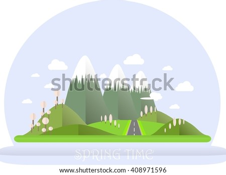 Series four seasons. Mountain landscape, road in spring time. Modern flat design, design element, vector