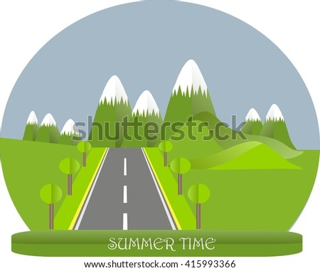 Series four seasons. Mountain landscape, road in summer time. Modern flat design, design element, vector
