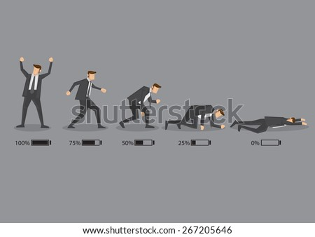 Series of a business executive in suit with battery indicator to show his energy level, from fully charged to drained and exhausted. Conceptual vector cartoon illustration isolated on grey background. - stock vector