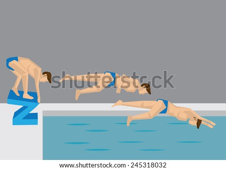 Series of action positions taken by a male swimmer jumping into water in swimming pool. Vector illustration in cartoon style. - stock vector