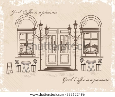 Series of backgrounds decorated with old town views and street cafes. Hand drawn Vector Illustration.  - stock vector