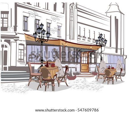 Series of backgrounds decorated with old town views and street cafes. Hand drawn Vector Illustration.