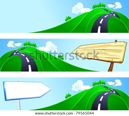 Series of banners with country landscape, vector