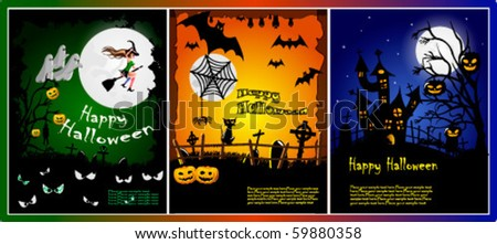 Series of beautiful backgrounds for halloween - stock vector