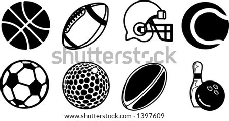 series of black sport icons - stock vector
